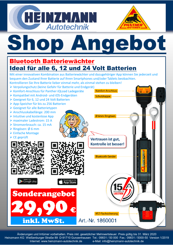 Shop Angebot +++ PANTHER Batterien - Bluetooth Batteriewächter Ideal für alle 6, 12 und 24 Volt Batterien